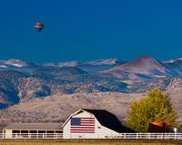 Hot Air Balloon With Flag Barn God Bless the USA
