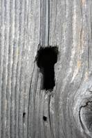 Keyhole in a wooden door
