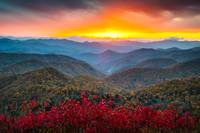 Blue Ridge Parkway Autumn Sunset NC - Rapture
