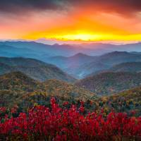 """Blue Ridge Parkway Autumn Sunset NC - Rapture"" by DAPhoto"