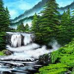 """Pine Trees by the Waterfall"" by galina"