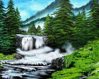 Pine Trees by the Waterfall