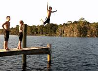 Carson Jump Two Boys on Dock
