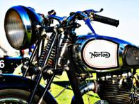 Norton motorcycle gas tank, handlebar and light