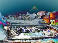 Neon Lights of Spokane Falls by Carol Groenen