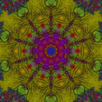 Yellow and Pink Organic Abstract Tile 36