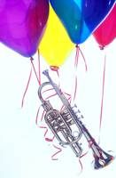 Trumpet lifted by balloons