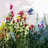 Hummingbird on Bee Balm Modern Art