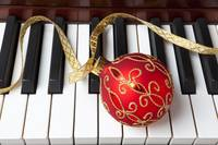 Christmas ornament on piano
