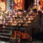 """Orange Bicycle by Brownstone"" by susansartgallery"