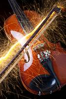 Violin with sparks flying from the bow