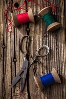 Old scissors and spools of thread