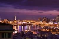 Skyline of Genova after the sunset
