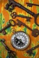 Old keys and compass