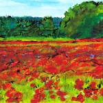 """Poppy Fields, Tuscany"" by Jackie-Sherwood-Artist"