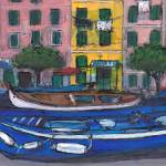 """Idle Boats, Vernazza, Cinque Terre"" by Jackie-Sherwood-Artist"