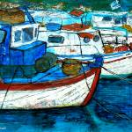 """Greek Fishing Boats - Collage"" by Jackie-Sherwood-Artist"