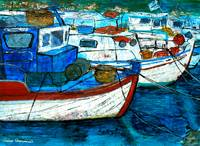 Greek Fishing Boats - Collage