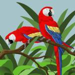 """Two Scarlet Macaws"" by waterart"