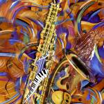 """A Little Sax Abstract Colorful Jazz Saxophone Prin"" by JuleezArt"