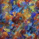 """Colorful Violins Abstract Classical Music Print"" by JuleezArt"