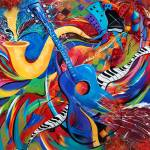 """Colorful Music Art Musical Guitar Decor"" by JuleezArt"