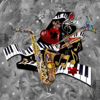"""Piano Music Jazz Sax Collage"" by JuleezArt"
