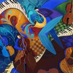 """Colorful Sax Player Jazz Blues Music Players"" by JuleezArt"