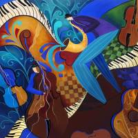 """Colorful Sax Player Jazz Blues Music Players"" by Julie Borden"