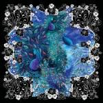"""Dramatic Black Peacock Garden Floral Print"" by JuleezArt"