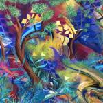 """""""Wonderland Fantasy Landscape Forest Print Poster"""" by JuleezArt"""