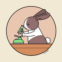 Cute Bunny Rabbit Scientist with Green Microscope