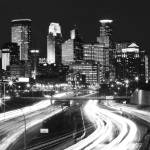 """Minneapolis Skyline BW"" by RBurmaster"