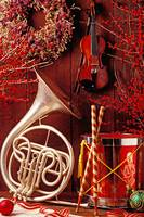 French horn Christmas still life