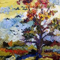 Autumn Fire Leaves Turning Red Oil Painting