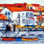 """Waters Edge, Collioure"" by Jackie-Sherwood-Artist"
