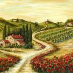 """Tuscan Road With Poppies"" by marilyndunlap"