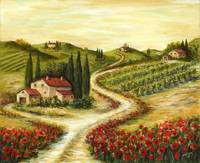 Tuscan Road With Poppies