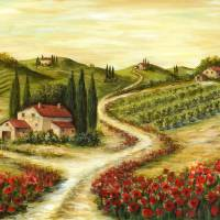 Tuscan Road With Poppies Art Prints & Posters by Marilyn Dunlap