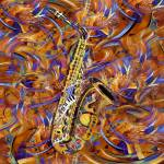 """Sax In The City Jazzy Music Painting"" by JuleezArt"