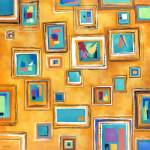 """Abstract Painted Squares On The Square Modern Prin"" by JuleezArt"