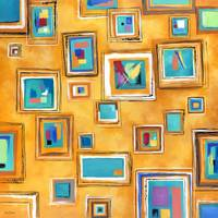 Abstract Painted Squares On The Square Modern Prin