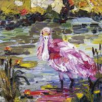 Roseate Spoonbill Florida Birds Oil Painting