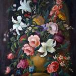"""Antique Black Oil Floral"" by Adrianne"