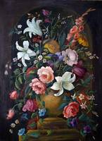 Antique Black Oil Floral