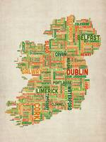 Ireland Eire City Text Map