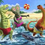 """dinosaur fun playing Volleyball on a beach vacatio"" by martindavey"