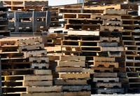 Wooden pallets.