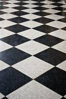 Black and white marble floor.