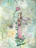 A Flower Fairy's Rest Fantasy Art by Molly Harriso